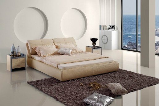 VIG Modrest Beige Leatherette Bed Available Online in Dallas Fort Worth Texas