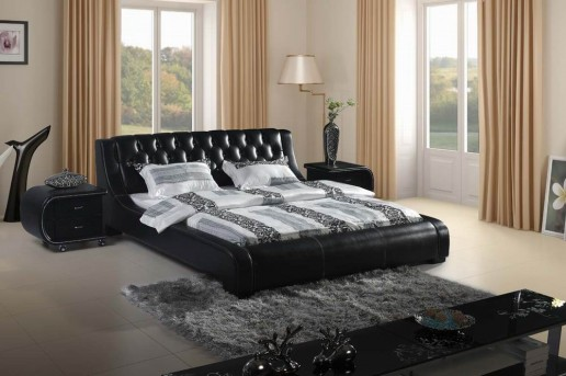 VIG Modrest Black Tufted Leatherette Bed Available Online in Dallas Fort Worth Texas