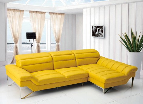 VIG Divani Casa Leven Yellow Leather Sectional Sofa
