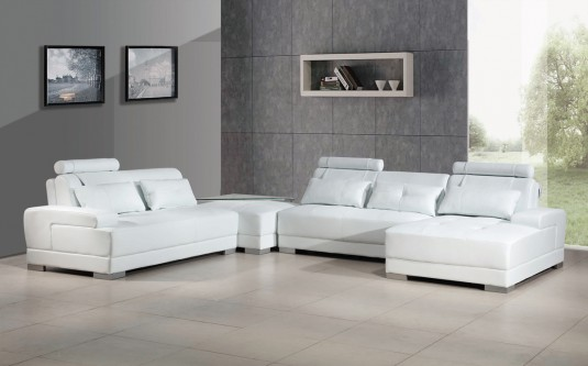 VIG Divani Casa Phantom White Bonded Leather Sectional Sofa With Ottoman  Available Online In Dallas Fort