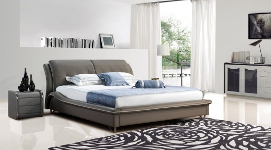 VIG Modrest B1320 Grey Bonded Leather Bed Available Online in Dallas Fort Worth Texas