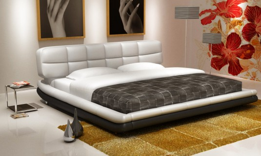 VIG Modrest D512 White And Black Bonded Leather Bed Available Online in Dallas Fort Worth Texas