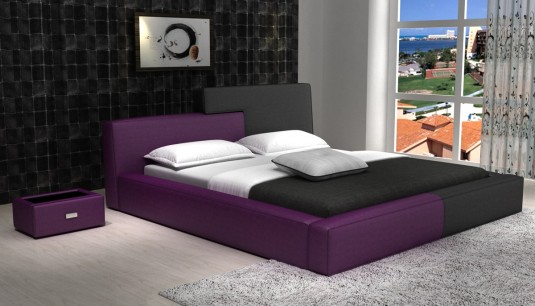 VIG Modrest D541 Purple & Black Bonded Leather Bed Available Online in Dallas Fort Worth Texas