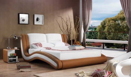VIG Modrest J216 Camel & White Bonded Leather Bed Available Online in Dallas Fort Worth Texas