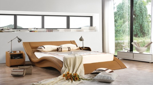 VIG Modrest J223 Camel Bonded Leather Bed Available Online in Dallas Fort Worth Texas