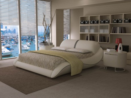 VIG Modrest J227 White & Grey Bonded Leather Bed Available Online in Dallas Fort Worth Texas