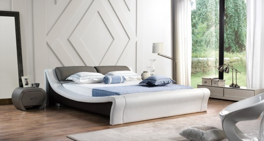 VIG Modrest J241 White & Grey Bonded Leather Bed Available Online in Dallas Fort Worth Texas