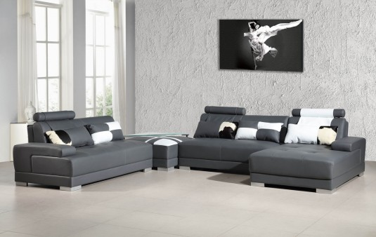 VIG Divani Casa Phantom Grey Leather Sectional Sofa With Ottoman ...