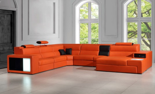Vig Divani Casa Polaris Leather Sectional Sofa With Lights Available Online In Dallas Fort Worth Texas