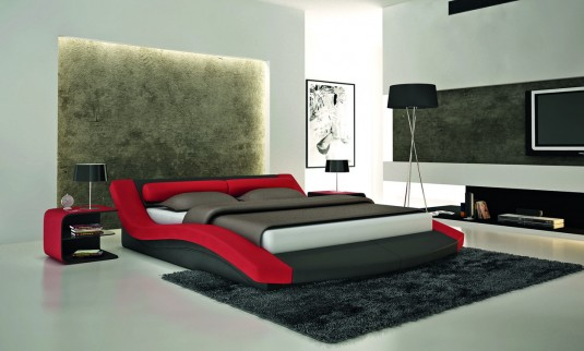 VIG Modrest S618 Black & Red Eco-leather Bed Available Online in Dallas Fort Worth Texas