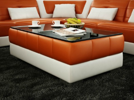 VIG Divani Casa Orange And White Bonded Leather Coffee Table Available Online in Dallas Fort Worth Texas