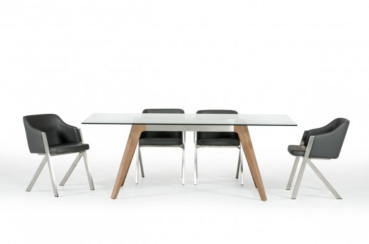 VIG Stanis Glass & Walnut Dining Table Available Online in Dallas Fort Worth Texas