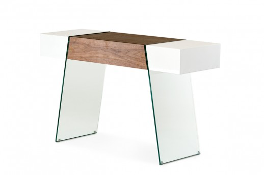 VIG Sven White & Walnut Floating Console Table Available Online in Dallas Fort Worth Texas