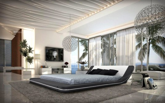 VIG Marquee Eco-leather Platform Bed With Led Lights Available Online in Dallas Fort Worth Texas