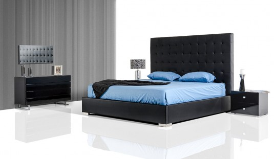VIG Lyrica Black Leatherette Tall Headboard Bed Available Online in Dallas Fort Worth Texas