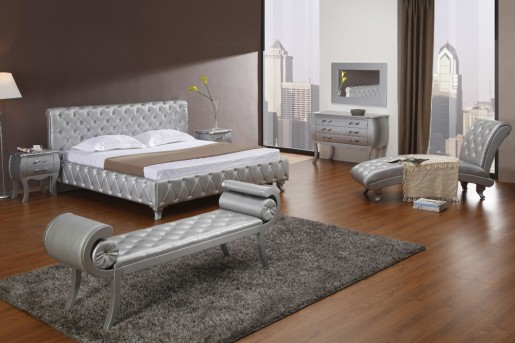 VIG Monte Carlo Platinum Edition Silver Bed With Crystals Available Online in Dallas Fort Worth Texas