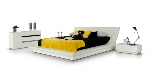 VIG Polar White Bedroom Platform Bed Available Online in Dallas Fort Worth Texas