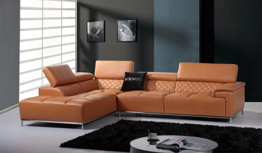 VIG Divani Casa Citadel Orange Leather Sectional Sofa Available Online In  Dallas Fort Worth Texas