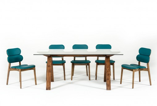 VIG Maddox Glass Walnut Dining Table Available Online in Dallas Fort Worth Texas