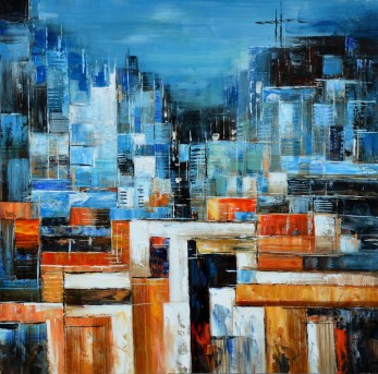 VIG Abstract Blue & Orange Oil Painting Available Online in Dallas Fort Worth Texas