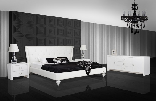 VIG A&X Monica White Leatherette Bed Available Online in Dallas Fort Worth Texas