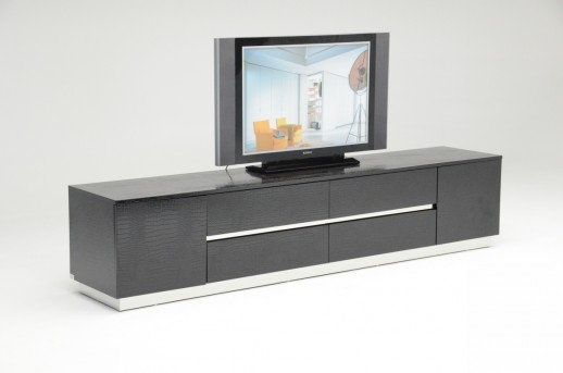 VIG A&X Skyline Black Crocodile Lacquer TV Unit Available Online in Dallas Fort Worth Texas