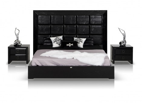 VIG A&X Glam Black Crocodile Bed Available Online in Dallas Fort Worth Texas