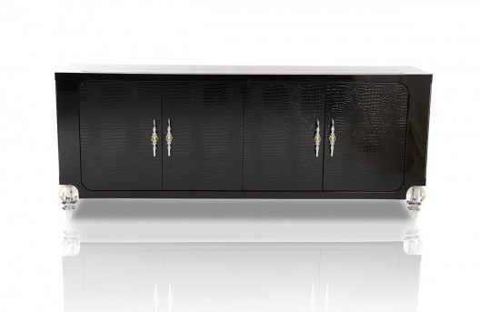VIG A&X Baccarat Black Crocodile Lacquer Buffet Available Online in Dallas Fort Worth Texas