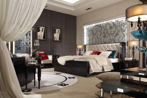 VIG A&X Bellagio Luxurious Crocodile Lacquer Bed Available Online in Dallas Fort Worth Texas