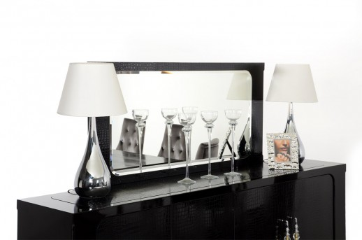 VIG Baccarat Black Crocodile Lacquer Mirror Available Online in Dallas Fort Worth Texas