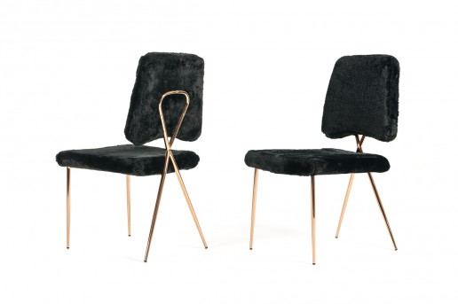 VIG Candace Black Faux Fur Dining Chair Available Online in Dallas Fort Worth Texas