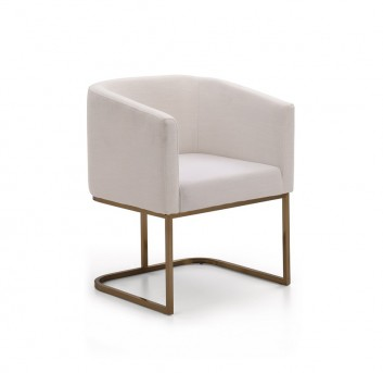 VIG Yukon White Fabric And Antique Brass Dining Chair Available Online in Dallas Fort Worth Texas
