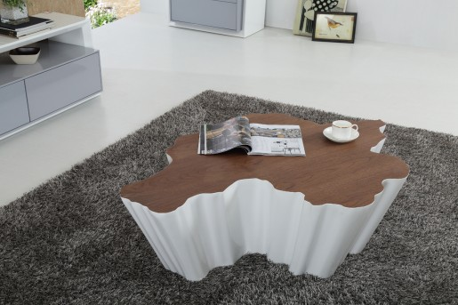 VIG Cottonwood Walnut & White Coffee Table Available Online in Dallas Fort Worth Texas