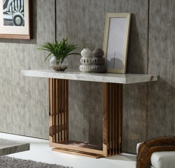 VIG Kingsley Marble & Rosegold Console Table Available Online in Dallas Fort Worth Texas