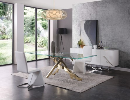 VIG Legend Glass & Gold Dining Table Available Online in Dallas Fort Worth Texas