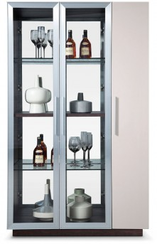 VIG Union Brown Oak With Grey Gloss Wine Cabinet Available Online in Dallas Fort Worth Texas