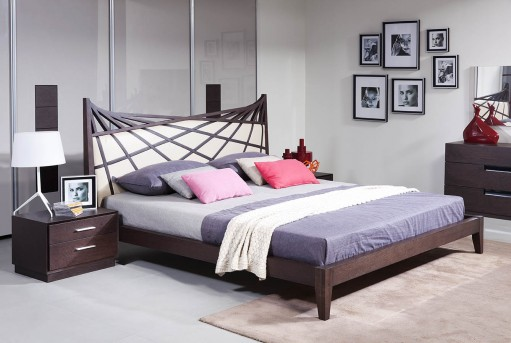 VIG Prism Brown & Beige Bonded Leather Bed Available Online in Dallas Fort Worth Texas