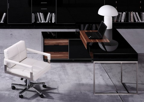VIG Ezra Black Gloss And Walnut Office Desk With Side Cabinet Available Online in Dallas Fort Worth Texas