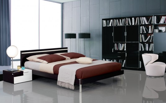 VIG Mocha Bed With Headboard Light Available Online in Dallas Fort Worth Texas