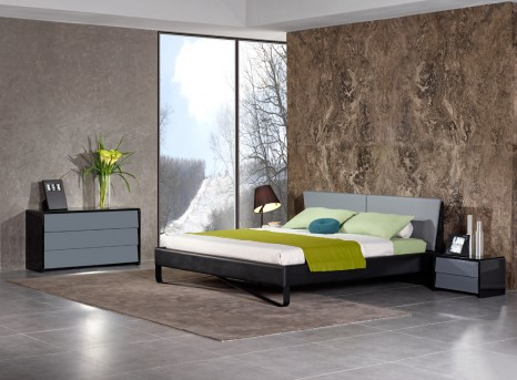 VIG Nova Domus Stone Grey & Black Bed Available Online in Dallas Fort Worth Texas