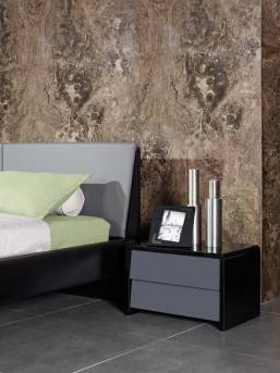 VIG Nova Domus Stone Grey & Black Nightstand Available Online in Dallas Fort Worth Texas