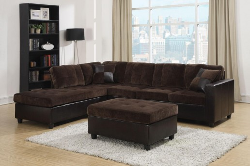 Coaster Mallory Chocolate Velvet Sectional Available Online in Dallas Fort Worth Texas