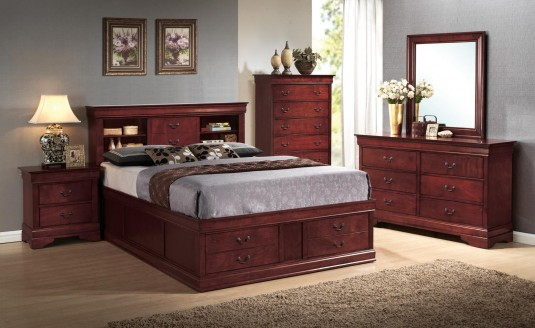 Louis Philippe 5pc Cherry King Storage Bedroom Set Available Online in Dallas Fort Worth Texas