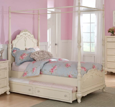 Homelegance Cinderella White Twin Canopy Bed Available Online in Dallas Fort Worth Texas