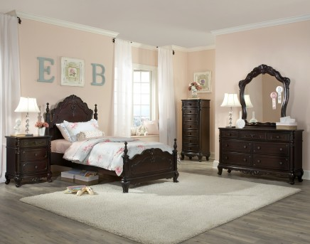 Cinderella Twin Cherry 5pc Bedroom Set Available Online in Dallas Fort Worth Texas