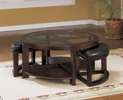 Homelegance Brussel Glass Top Coffee Table With 2 Stool Available Online in Dallas Fort Worth Texas