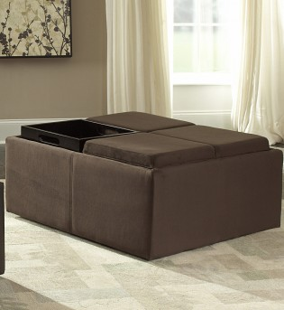 Homelegance Kaitlyn Brown Microfiber Ottoman Available Online in Dallas Fort Worth Texas