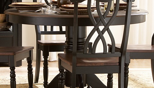 Ohana Black/Cherry Round Dining Table Available Online in Dallas Fort Worth Texas