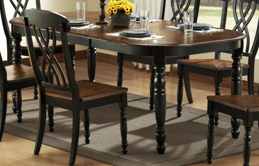 Ohana Black/Cherry Oval Dining Table Available Online in Dallas Fort Worth Texas