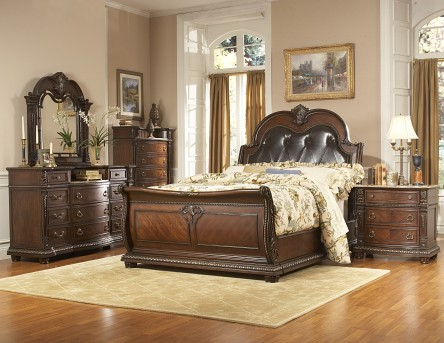 Palace King Leather Bed Available Online in Dallas Fort Worth Texas